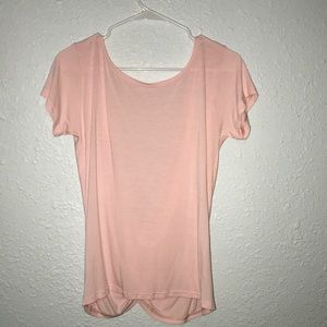 Pink shirt with open back
